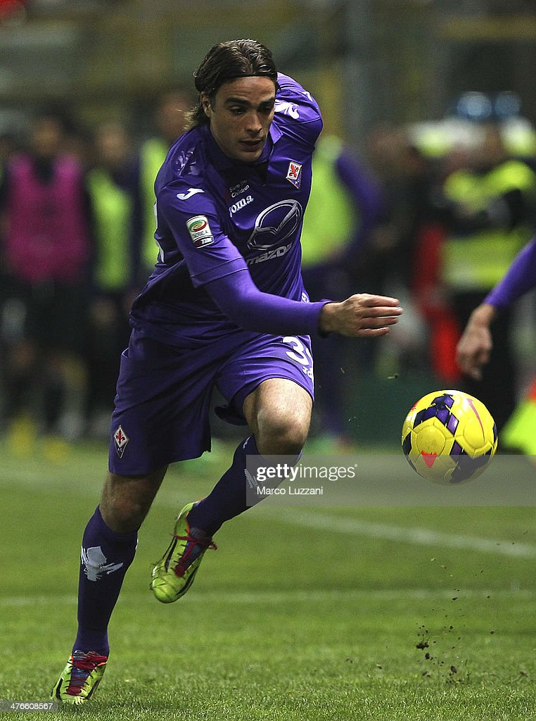 <a gi-track='captionPersonalityLinkClicked' href=/galleries/search?phrase=Alessandro+Matri&family=editorial&specificpeople=4501520 ng-click='$event.stopPropagation()'>Alessandro Matri</a> of ACF Fiorentina in action during the Serie A match between Parma FC and ACF Fiorentina at Stadio Ennio Tardini on February 24, 2014 in Parma, Italy.