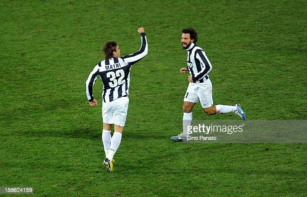 Alessandro Matri of FC Juventus celebrate after scoring his first goal during the Serie A match between Cagliari Calcio and FC Juventus at Stadio...