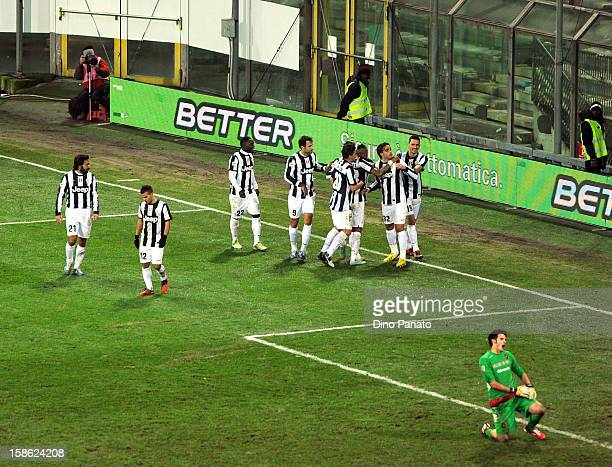 Alessandro Matri of FC Juventus celebrate after scoring his teams second goal with their team mate during the Serie A match between Cagliari Calcio...