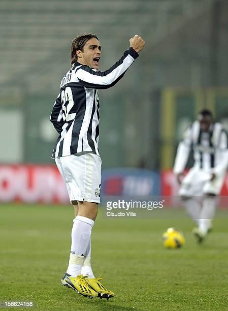 Alessandro Matri of FC Juventus celebrates scoring the first goal during the Serie A match between Cagliari Calcio and FC Juventus at Stadio Ennio...
