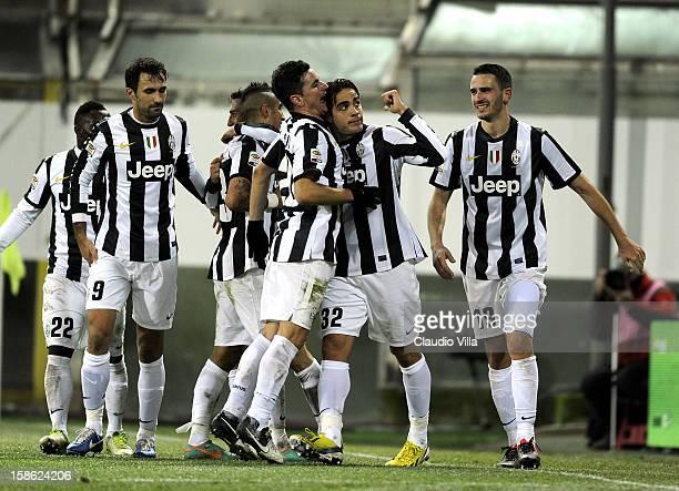 Alessandro Matri of FC Juventus celebrates scoring the second goal during the Serie A match between Cagliari Calcio and FC Juventus at Stadio Ennio...