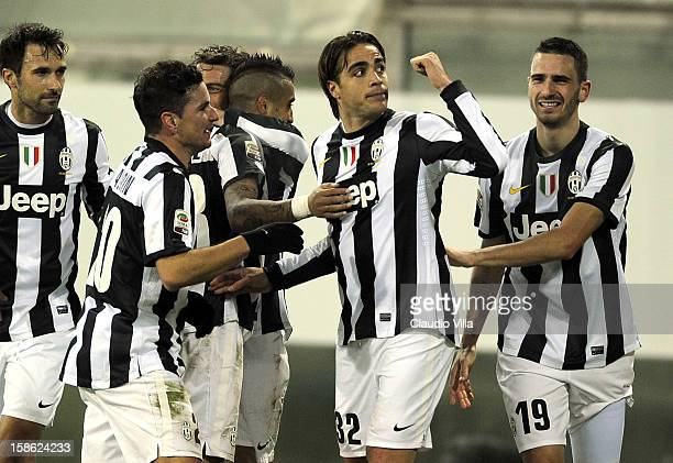 Alessandro Matri of FC Juventus celebrates scoring the second goal during the Serie A match between Cagliari Calcio and FC Juventus at Stadio Ennio...