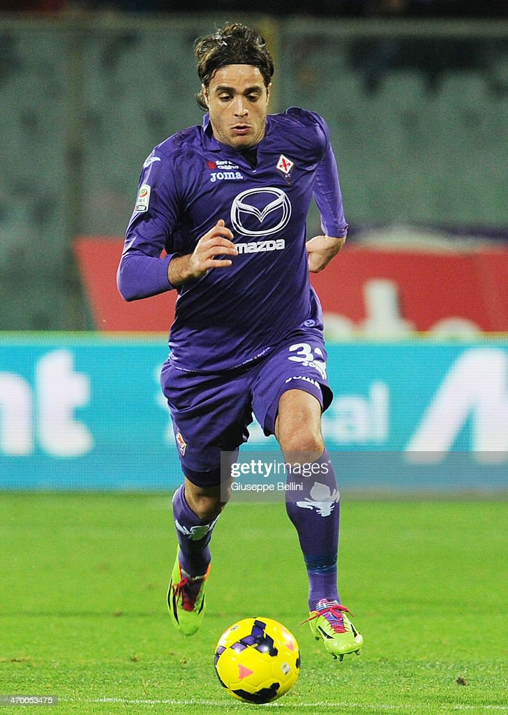 Alessandro Matri of Fiorentina in action during the Serie A match between ACF Fiorentina and FC Internazionale Milano at Stadio Artemio Franchi on February 15, 2014 in Florence, Italy.
