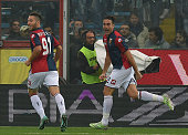 Alessandro Matri of Genoa celebrates after scoring the opening goal during the Serie A match between AC Cesena and Genoa CFC at Dino Manuzzi Stadium...