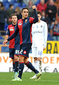 Alessandro Matri of Genoa CFC celebrates after scoring from the equalizing goal during the Serie A match between Genoa CFC and Atalanta BC at Stadio...