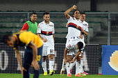 Alessandro Matri of Genoa CFC celebrates after scoring his team's second goal during the Serie A match between Hellas Verona FC and Genoa CFC at...