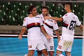 Alessandro Matri of Genoa CFC celebrates after scoring the opening goal during the Serie A match between Hellas Verona FC and Genoa CFC at Stadio...