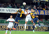 Alessandro Matri of Genoa CFC scores the opening goal during the Serie A match between Hellas Verona FC and Genoa CFC at Stadio Marc'Antonio...