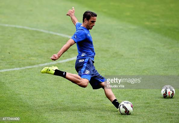 Alessandro Matri of Italy in action during an Italy training session at Stade de Geneve on June 15 2015 in Geneva Switzerland