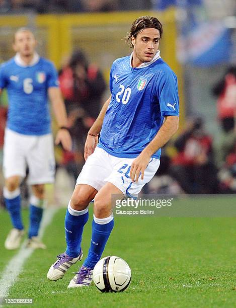 Alessandro Matri of Italy in action during the International friendly match between Italy and Uruguay at Olimpico Stadium on November 15 2011 in Rome...