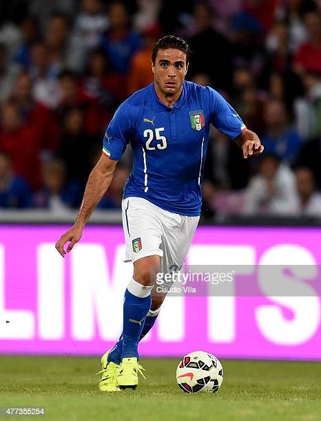 Alessandro Matri of Italy in action during the international friendly match between Portugal and Italy at Stade de Geneve on June 16 2015 in Geneva...