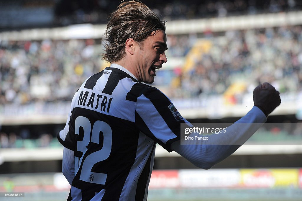 Alessandro Matri of Juventus celebrates after scoring the opening goal of the Serie A match between AC Chievo Verona and Juventus FC at Stadio Marc'Antonio Bentegodi on February 3, 2013 in Verona, Italy.