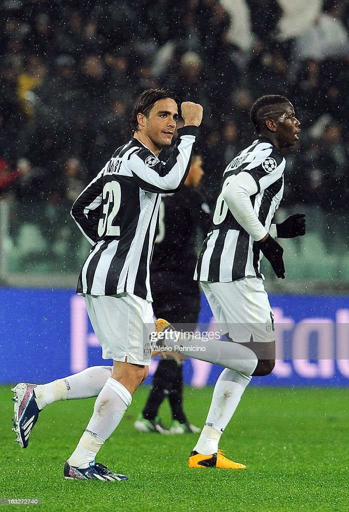 Alessandro Matri (L) of Juventus celebrates after scoring the opening goal during the UEFA Champions League round of 16 second leg match between Juventus and Celtic at Juventus Arena on March 6, 2013 in Turin, Italy.
