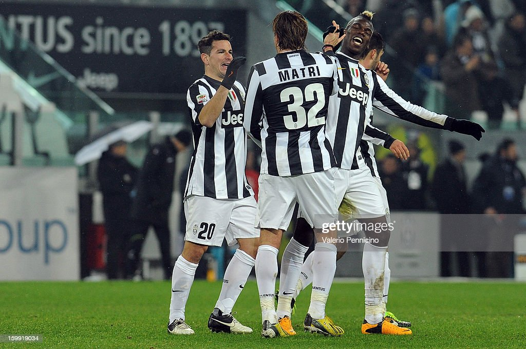 <a gi-track='captionPersonalityLinkClicked' href=/galleries/search?phrase=Alessandro+Matri&family=editorial&specificpeople=4501520 ng-click='$event.stopPropagation()'>Alessandro Matri</a> (C) of Juventus celebrates his goal with team-mate <a gi-track='captionPersonalityLinkClicked' href=/galleries/search?phrase=Paul+Pogba&family=editorial&specificpeople=5805302 ng-click='$event.stopPropagation()'>Paul Pogba</a> (R) during the Serie A match between Juventus and Udinese Calcio at Juventus Arena on January 19, 2013 in Turin, Italy.