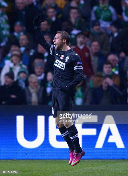 Alessandro Matri of Juventus celebrates scoring the opening goal during the UEFA Champions League Round of 16 first leg match between Celtic and...