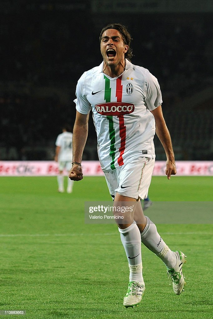 <a gi-track='captionPersonalityLinkClicked' href=/galleries/search?phrase=Alessandro+Matri&family=editorial&specificpeople=4501520 ng-click='$event.stopPropagation()'>Alessandro Matri</a> of Juventus FC celebrates a goal during the Serie A match between Juventus FC and AC Chievo Verona at Olimpico Stadium on May 9, 2011 in Turin, Italy.