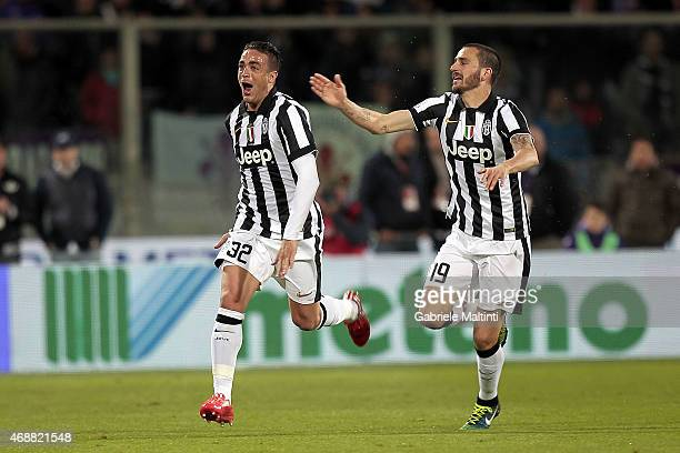 Alessandro Matri of Juventus FC celebrates after scoring a goal during the TIM cup match between ACF Fiorentina and Juventus FC at Artemio Franchi on...