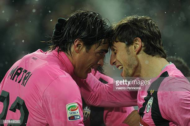 Alessandro Matri of Juventus FC celebrates his second goal with Claudio Marchisio during the Serie A match between Juventus FC and Udinese Calcio at...