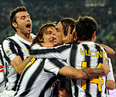 Alessandro Matri of Juventus FC celebrates scoring the first goal during the Serie A match between Juventus FC and Genoa CFC on October 22 2011 in...