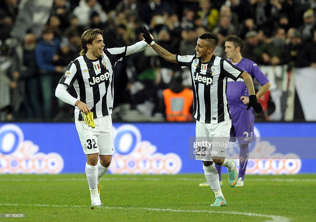 Alessandro Matri of Juventus FC #32 celebrates scoring the first goal during the Serie A match between Juventus FC and ACF Fiorentina at Juventus Arena on February 9, 2013 in Turin, Italy.
