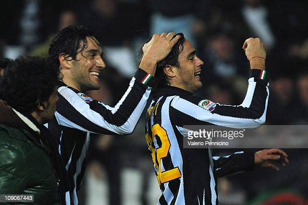Alessandro Matri of Juventus FC celebrates scoring the opening goal with team mate Luca Toni during the Serie A match between Juventus FC and FC...