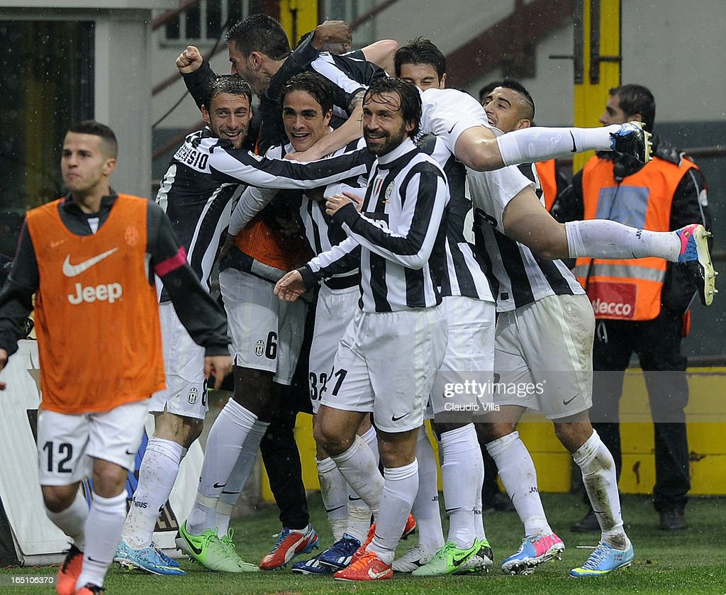 Alessandro Matri of Juventus FC #32 celebrates scoring the second goal during the Serie A match between FC Internazionale Milano and Juventus FC at San Siro Stadium on March 30, 2013 in Milan, Italy.