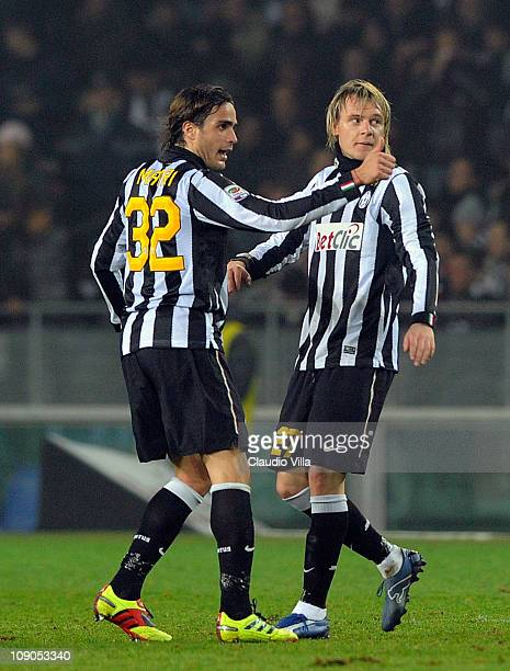 Alessandro Matri of Juventus FC celebrates with team mate Milos Krasic after scoring the opening goal during the Serie A match between Juventus FC...