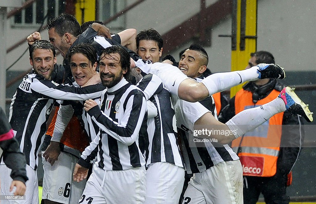 Alessandro Matri of Juventus FC (C) celebrates with team-mates after scoring their second goal during the Serie A match between FC Internazionale Milano and Juventus FC at San Siro Stadium on March 30, 2013 in Milan, Italy.