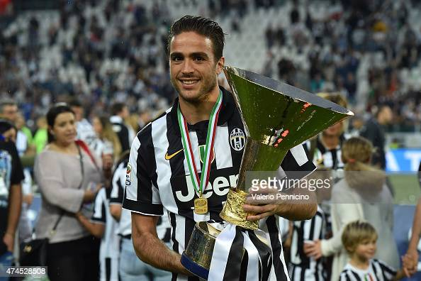 Alessandro Matri of Juventus FC celebrates with the Serie A Trophy at the end of the Serie A match between Juventus FC and SSC Napoli at Juventus...