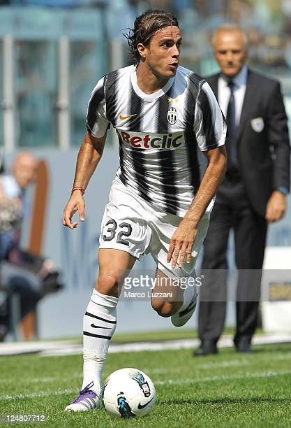Alessandro Matri of Juventus FC in action during the Serie A match between Juventus FC and Parma FC at the Juventus Stadium on September 11 2011 in...