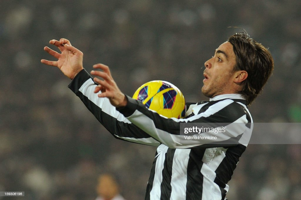 Alessandro Matri of Juventus FC in action during the TIM cup match between Juventus FC and AC Milan at Juventus Arena on January 9, 2013 in Turin, Italy.