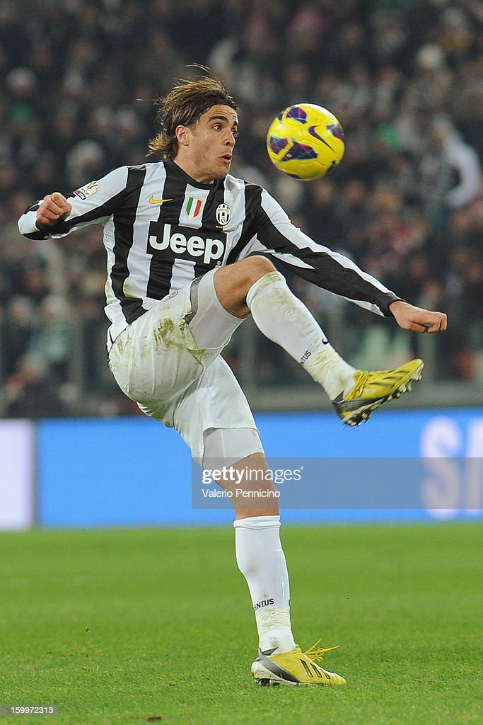 Alessandro Matri of Juventus FC in action during the TIM cup match between Juventus FC and S.S. Lazio at Juventus Arena on January 22, 2013 in Turin, Italy.
