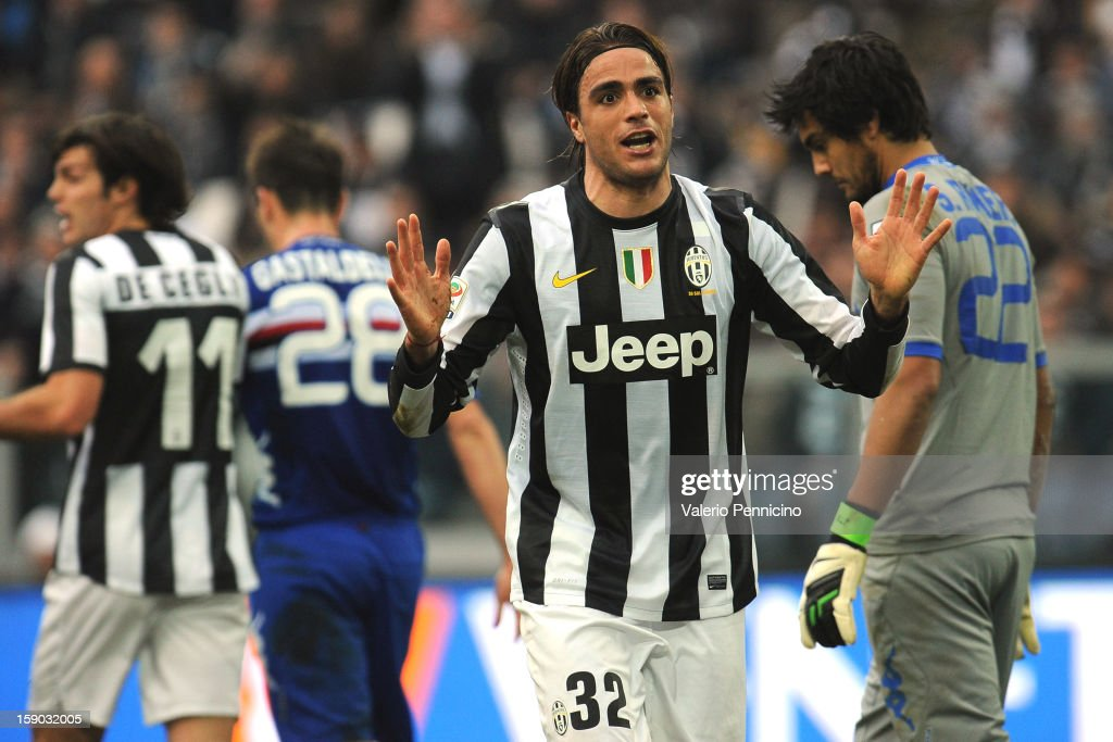 Alessandro Matri of Juventus FC reacts during the Serie A match between Juventus FC and UC Sampdoria at Juventus Arena on January 6, 2013 in Turin, Italy.