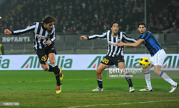 Alessandro Matri of Juventus FC scores the opening goal during the Serie A match between Juventus FC and FC Internazionale Milano at Olimpico Stadium...
