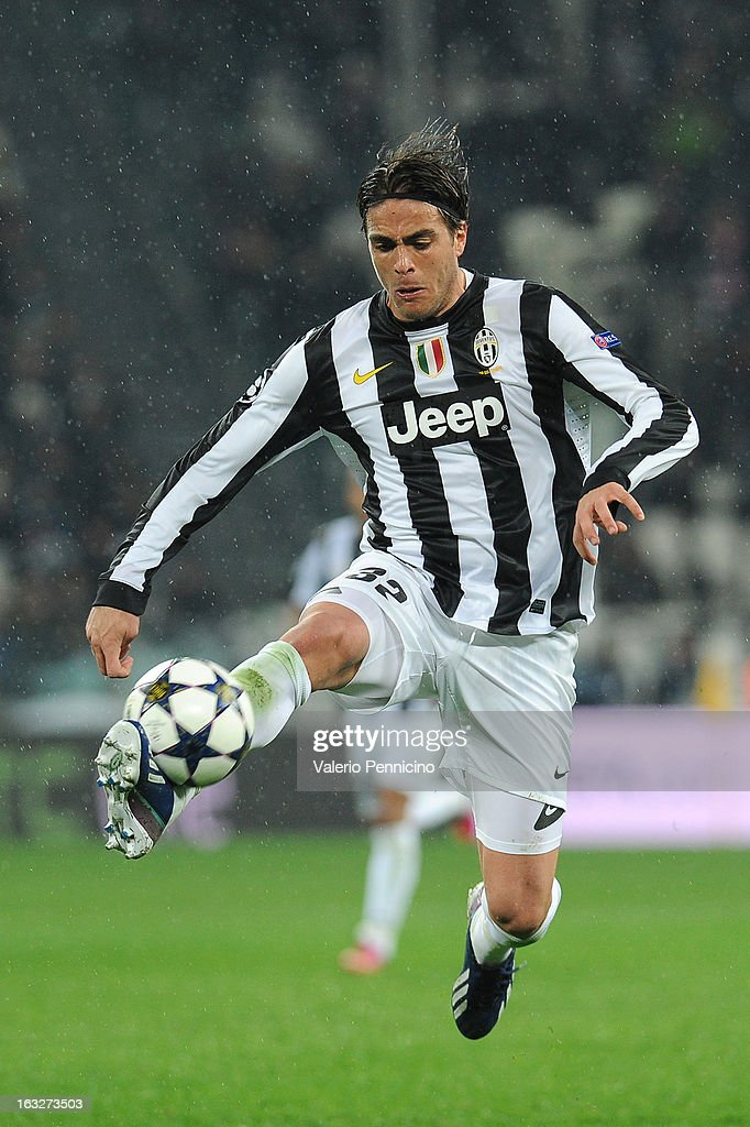 Alessandro Matri of Juventus in action during the UEFA Champions League round of 16 second leg match between Juventus and Celtic at Juventus Arena on March 6, 2013 in Turin, Italy.
