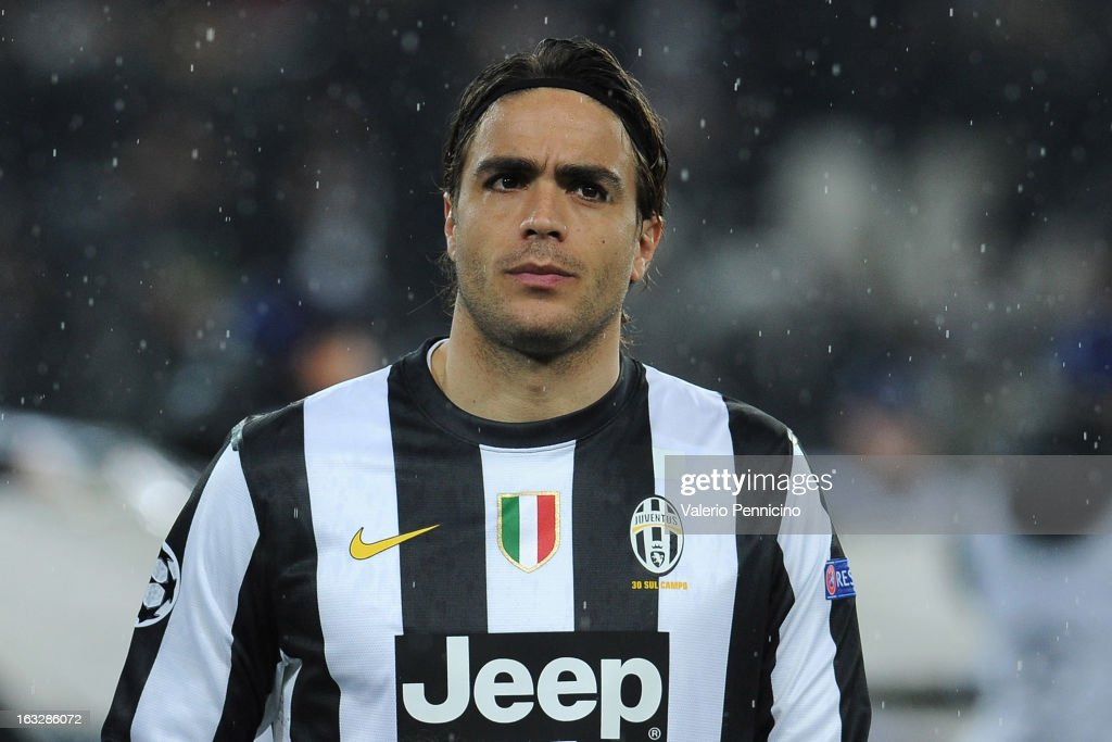 Alessandro Matri of Juventus looks on prior to the UEFA Champions League round of 16 second leg match between Juventus and Celtic at Juventus Arena on March 6, 2013 in Turin, Italy.