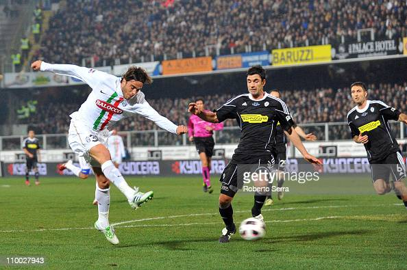 Alessandro Matri of Juventus scores a goal during the Serie A match between AC Cesena and Juventus FC at Dino Manuzzi Stadium on March 12 2011 in...