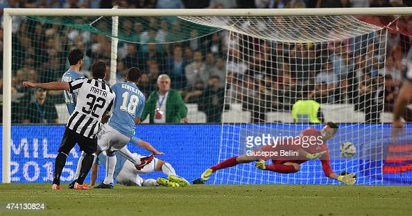 Alessandro Matri of Juventus scores the goal 21 during the TIM Cup final match between SS Lazio and Juventus FC at Olimpico Stadium on May 20 2015 in...