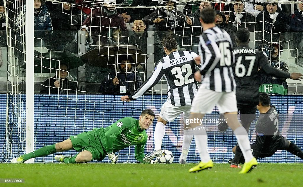 Alessandro Matri (2nd L) of Juventus scores the opening goal during the Champions League round of 16 second leg match between Juventus and Celtic at Juventus Arena on March 6, 2013 in Turin, Italy.