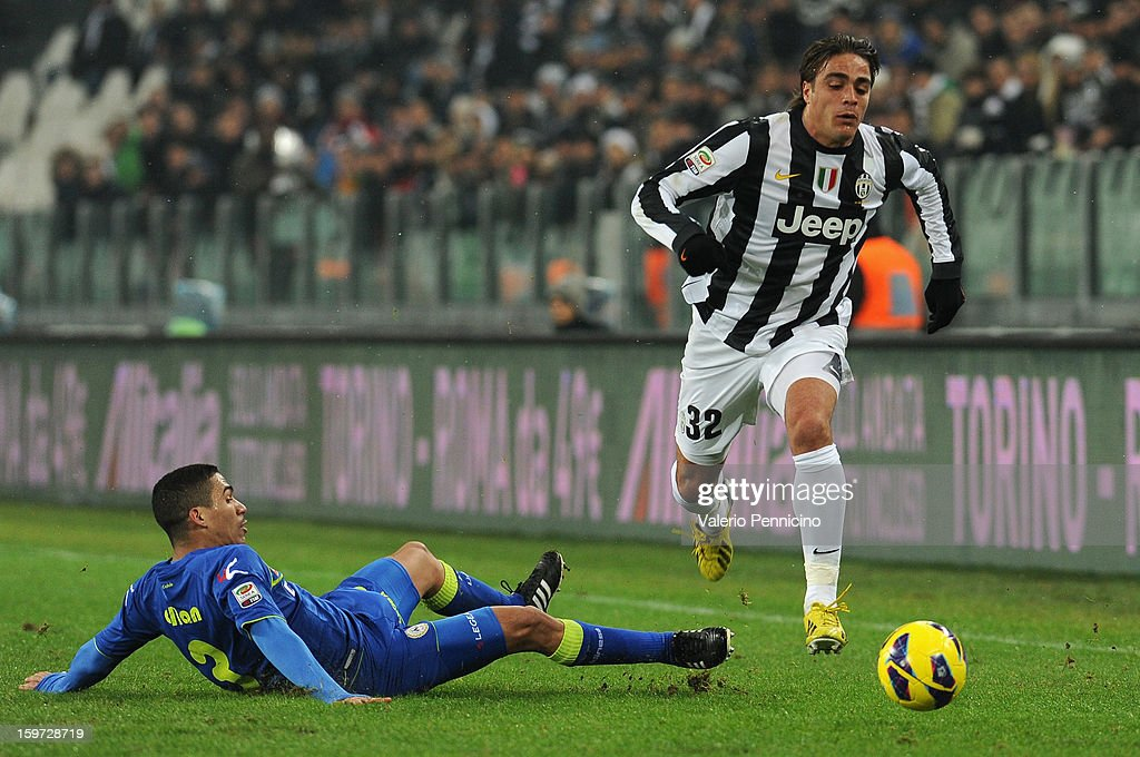 <a gi-track='captionPersonalityLinkClicked' href=/galleries/search?phrase=Alessandro+Matri&family=editorial&specificpeople=4501520 ng-click='$event.stopPropagation()'>Alessandro Matri</a> (R) of Juventus turns Allan of Udinese Calcio during the Serie A match between Juventus and Udinese Calcio at Juventus Arena on January 19, 2013 in Turin, Italy.