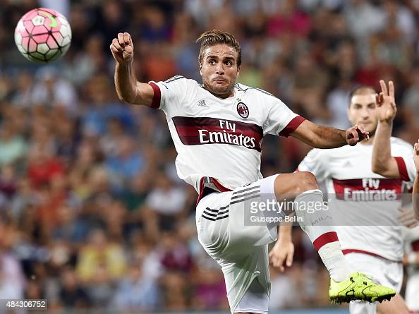 Alessandro Matri of Milan in action during the TIM preseason tournament match between AC Milan and US Sassuolo Calcio at Mapei Stadium Città del...