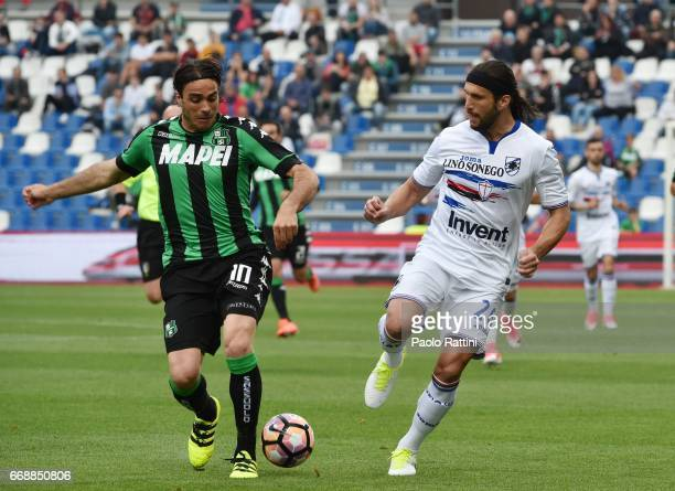 Alessandro Matri of Sassuolo and Matias Silvestre of Sampdoria during the Serie A match between US Sassuolo and UC Sampdoria at Mapei Stadium Citta'...