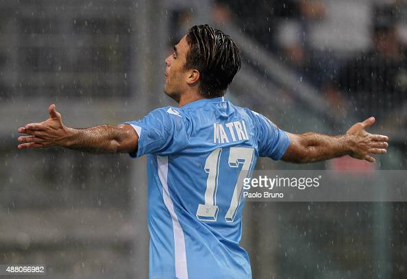 Alessandro Matri of SS Lazio celebrates after scoring the opening goal during the Serie A match between SS Lazio and Udinese Calcio at Stadio...