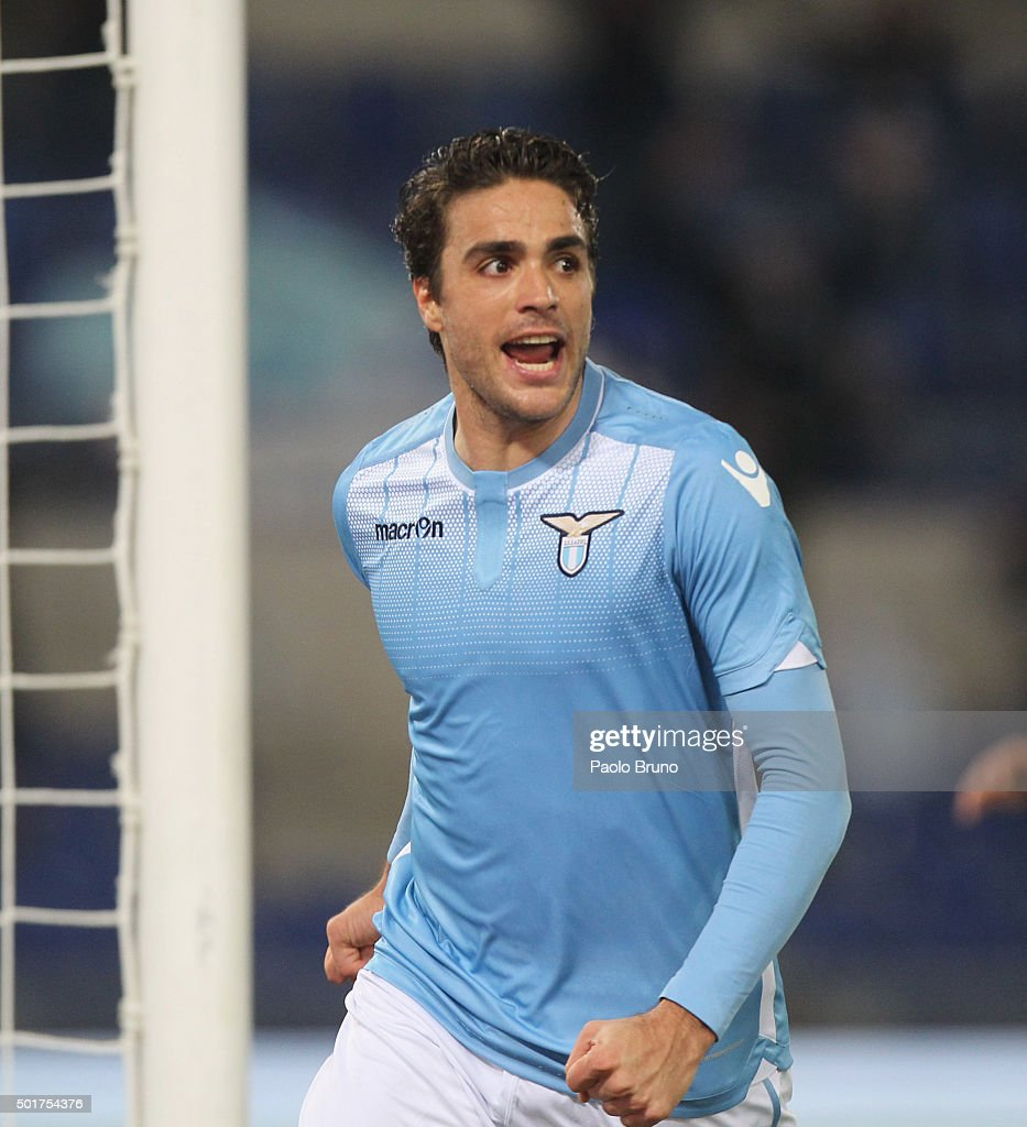 <a gi-track='captionPersonalityLinkClicked' href=/galleries/search?phrase=Alessandro+Matri&family=editorial&specificpeople=4501520 ng-click='$event.stopPropagation()'>Alessandro Matri</a> of SS Lazio celebrates after scoring the opening goal during the TIM Cup match between SS Lazio and Udinese Calcio at Stadio Olimpico on December 17, 2015 in Rome, Italy.