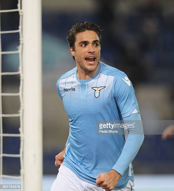 Alessandro Matri of SS Lazio celebrates after scoring the opening goal during the TIM Cup match between SS Lazio and Udinese Calcio at Stadio...