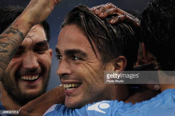 Alessandro Matri of SS Lazio celebrates after scoring the team's second goal during the Serie A match between SS Lazio and Udinese Calcio at Stadio...