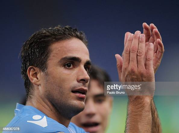 Alessandro Matri of SS Lazio greets the fans after the Serie A match between SS Lazio and Udinese Calcio at Stadio Olimpico on September 13 2015 in...
