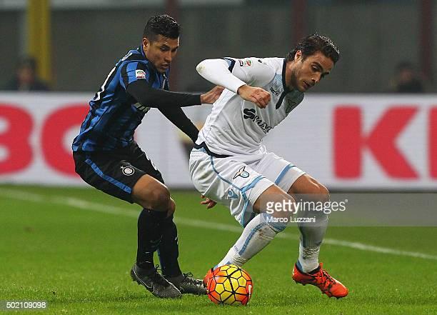Alessandro Matri of SS Lazio is challenged by Jeison Murillo of FC Internazionale Milano during the Serie A match between FC Internazionale Milano...