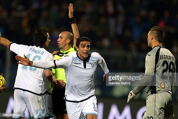 Alessandro Matri of SS Lazio protests during the Serie A match between Empoli FC and SS Lazio at Stadio Carlo Castellani on November 29 2015 in...