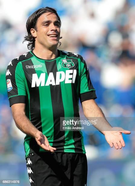 Alessandro Matri of US Sassuolo Calcio celebrates his goal during the Serie A match between US Sassuolo and Cagliari Calcio at Mapei Stadium Citta'...